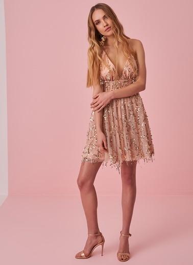 morhipo x dcey Payet Detaylı Mini Elbise Pudra